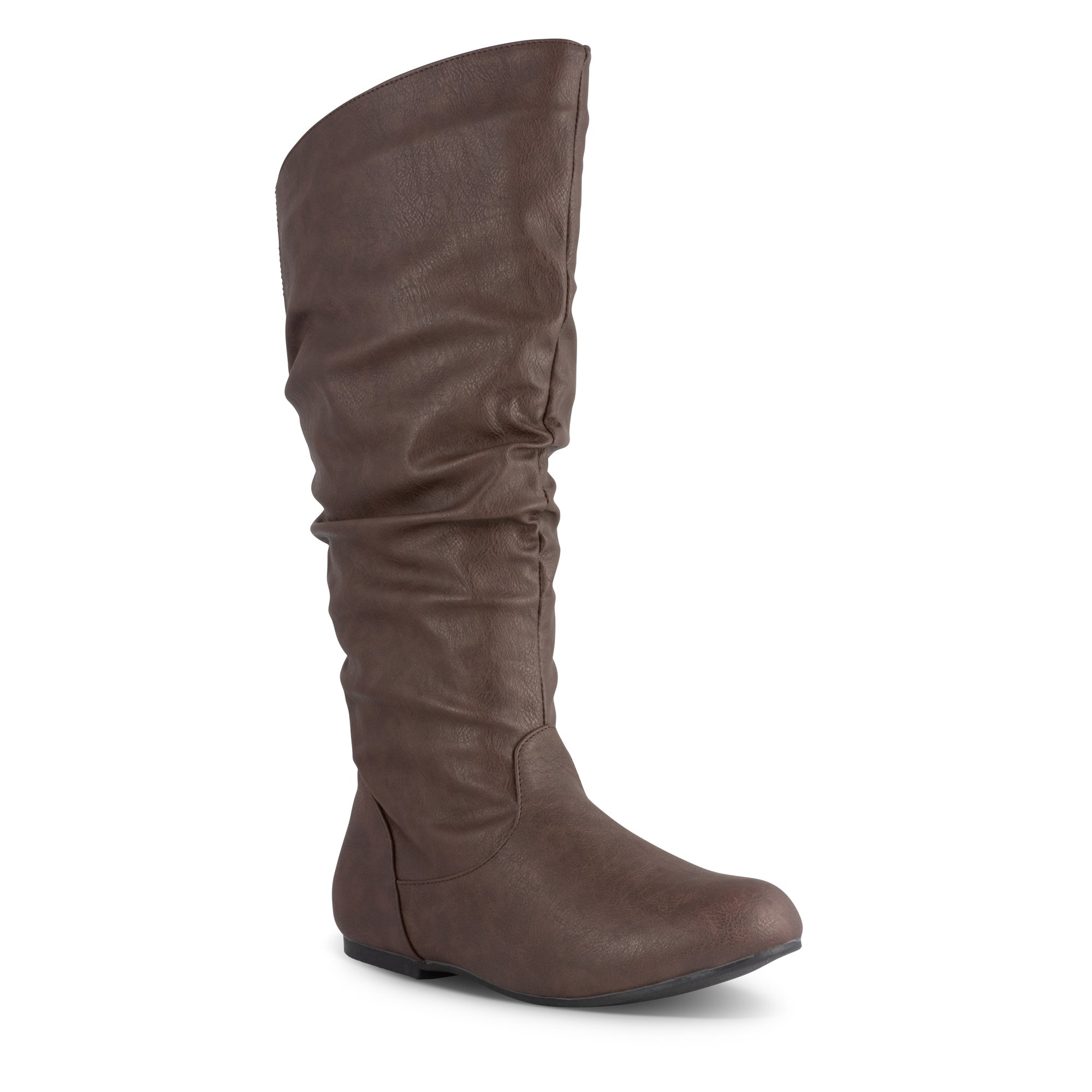 Twisted Women's SHELLY Wide Width/Wide Calf Faux Leather Knee-High Scrunch Flat Riding Boot - SHELLY139P BROWN, Size 9