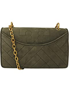 6279ad7b2ab Tory Burch Women s Alexa Quilted Suede Shoulder Bag Leather Cross Body