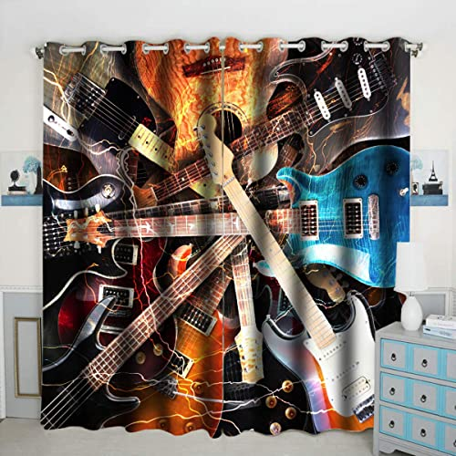 Colourful Guitar Theme Window Curtain Panels Blackout Curtain Panels Thermal Insulated Light Blocking 42W x 84L inch Set of 2 Panel