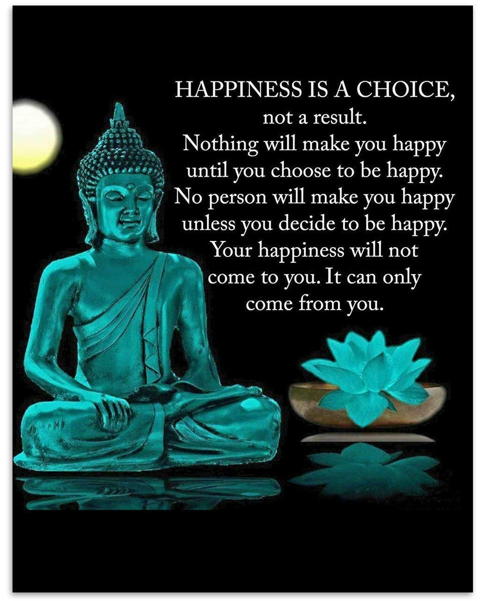 "Buddha Art Print -""Happiness is a Choice""- 8 x 10 Art Wall Print Art Ready to Frame. Modern Home Décor, Studio & Office Décor. Perfect Gift for Buddhism, Zen & Motivation."