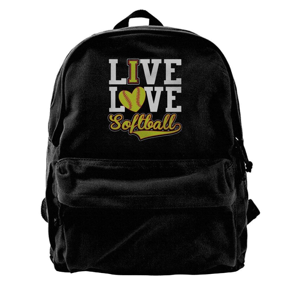 Ive Love - Softball Canvas Backpack Travel Rucksack Backpack Daypack Knapsack Laptop Shoulder Bag