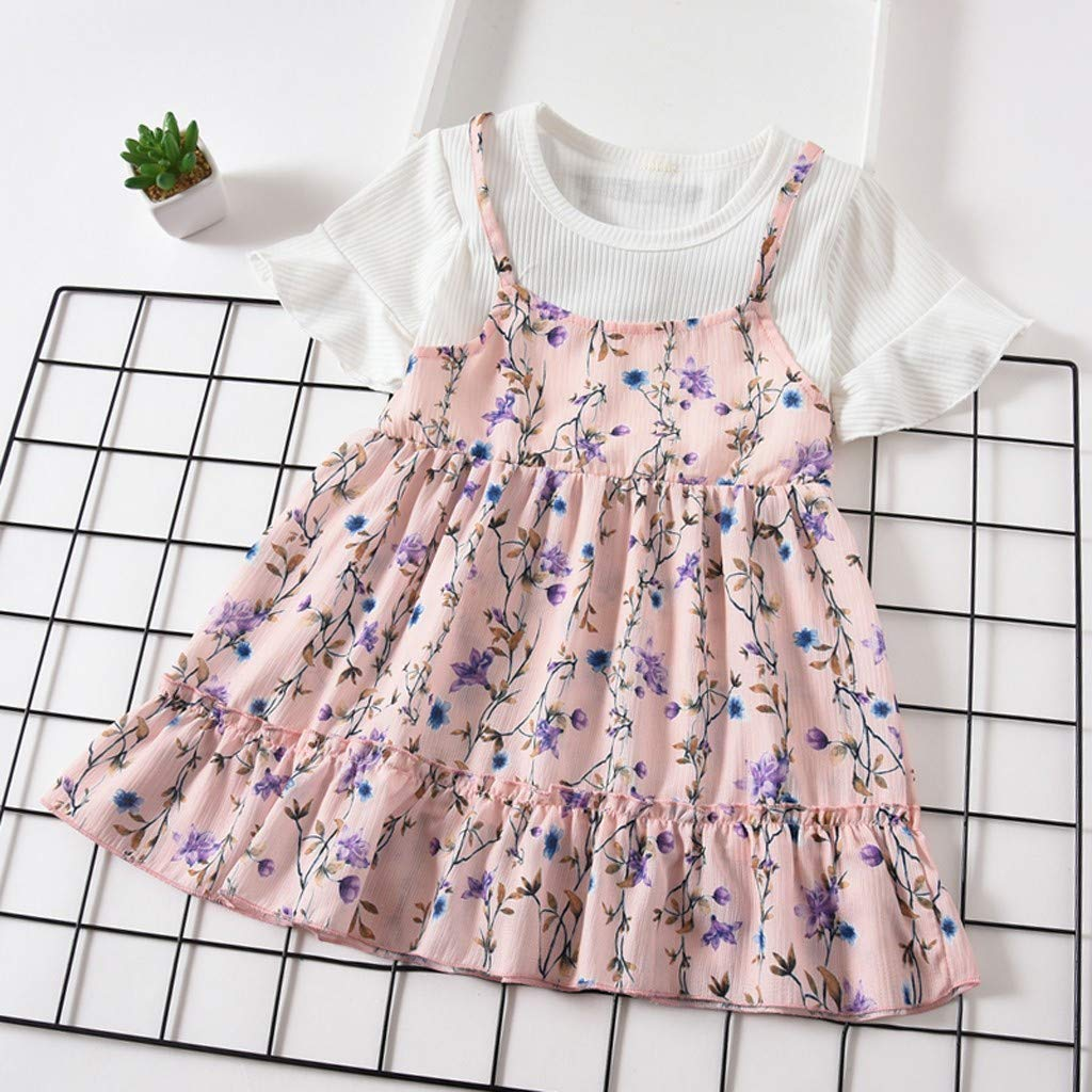 Nargar Baby Girls Short Sleeve Dress Cute Girls Floral Printed Fake Two Pieces Dress with Ruffled Sleeve Toddler Party Princess Dresses Festival Outfits 1-4 Years