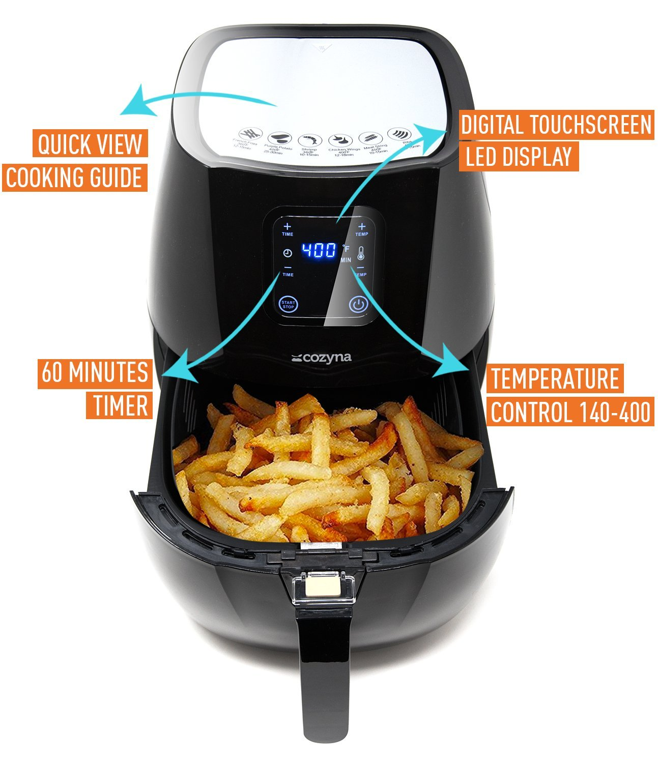 Cozyna SAF-32 Digital Air Fryer Touchscreen (3.7QT) with 2 airfryer cookbooks and a Skewer Rack Accessory by Cozyna (Image #3)