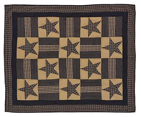 VHC Brands Classic Country Primitive Pillows Throws – Teton Star Tan Quilted Throw