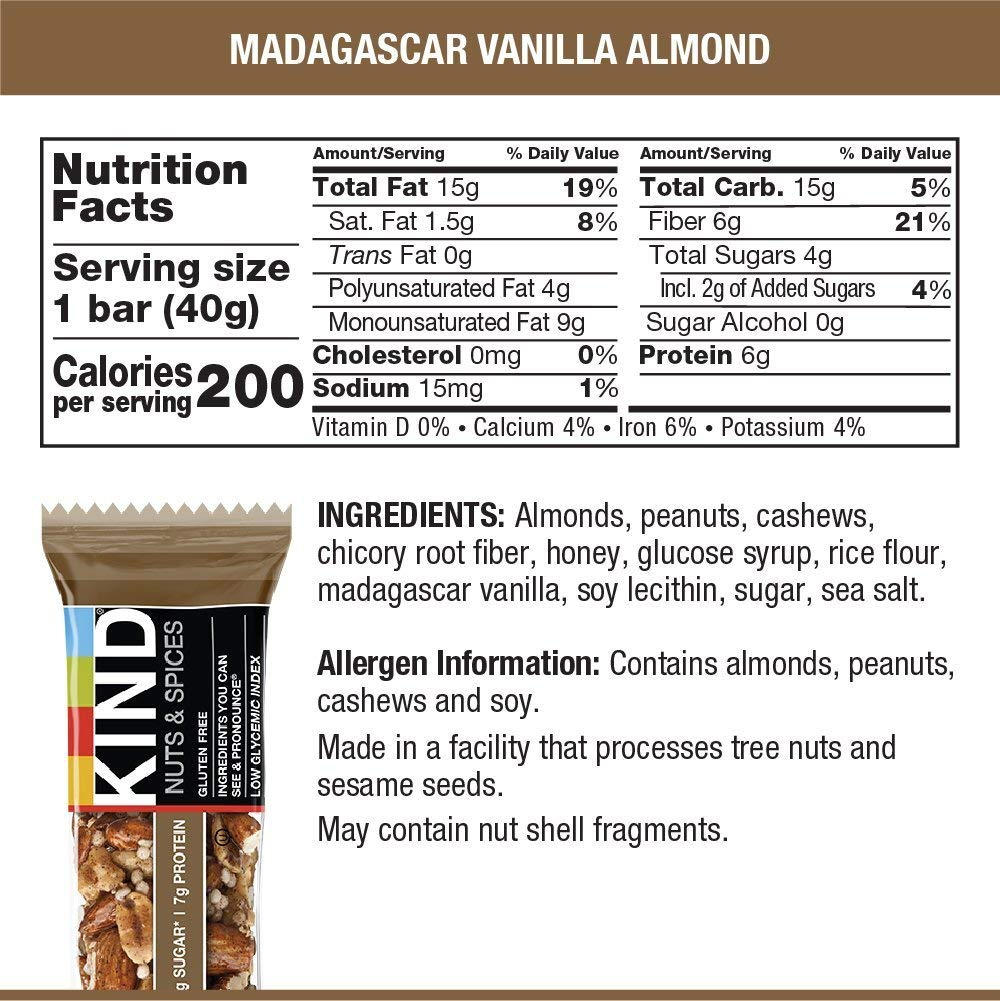 KIND Bars, Madagascar Vanilla Almond, Gluten Free, Low Sugar, 1.4oz, 12 Count by KIND (Image #6)