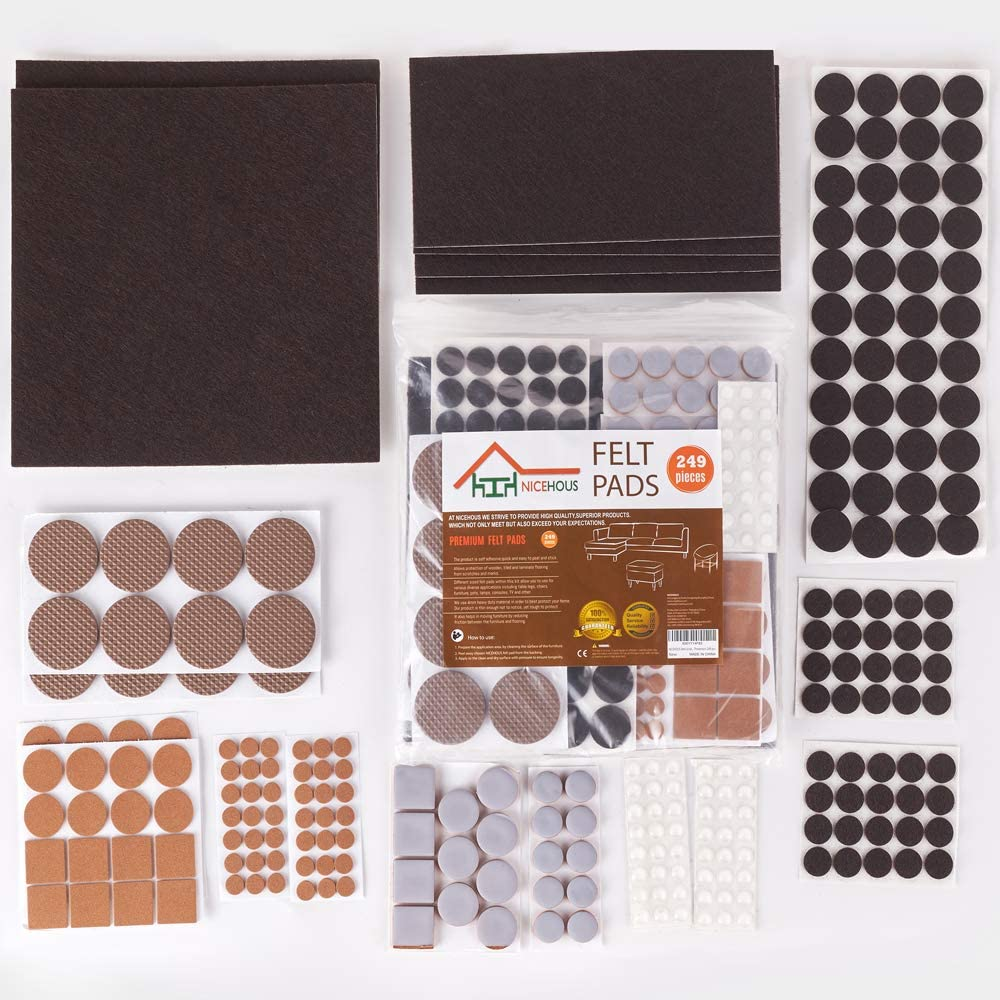 NICEHOUS Felt Furniture Pads for Hardwood Floors,Chair Leg Floor Protectors,Variety Size/Colour Floor Pads,Heavy Duty Felt Pads,249pcs