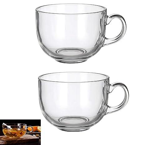 Amazon.com: Juego de 2 tazas de café grandes de cristal con ...