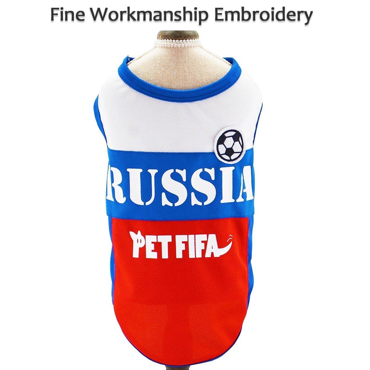e48725071 Amazon.com   Besmall Dog T-shirt Costume Sport Jersey Pet National Flag  Football Soccer World Cup FIFA Russia (L)   Pet Supplies