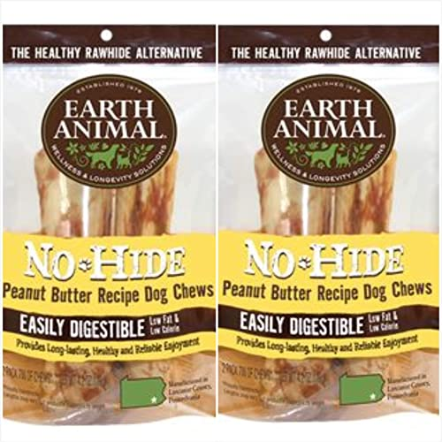 No Hide Earth Animal Peanut Butter Dog Chews. 2 Packs Medium 6-7 inch 4 Chews Total The Safe Alternative to Rawhide