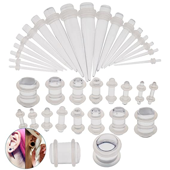 Amazon.com: 36pcs Dilataciones y con anillas/piercings ...