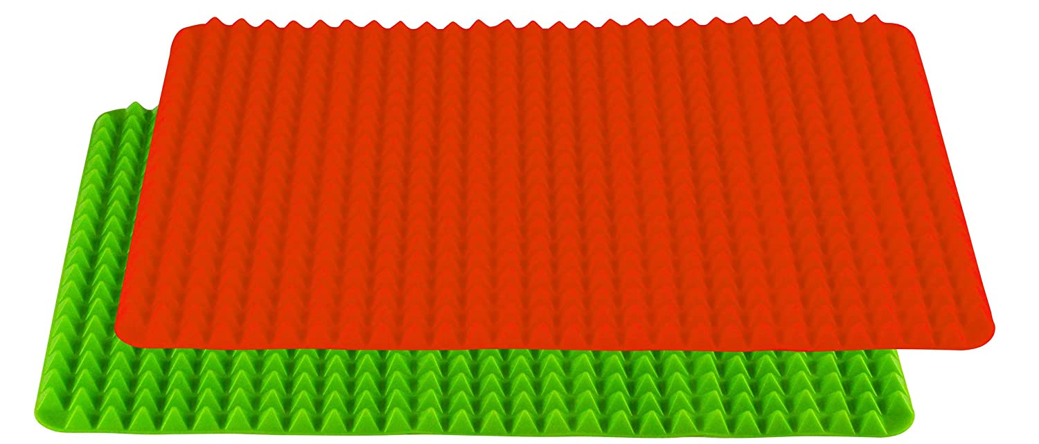 Red and Green Set of 2 Southern Homewares SH-10217 Healthy Homewares Raised Silicone Baking Sheet Non-Stick Cooking Mat Oven Tray Liner
