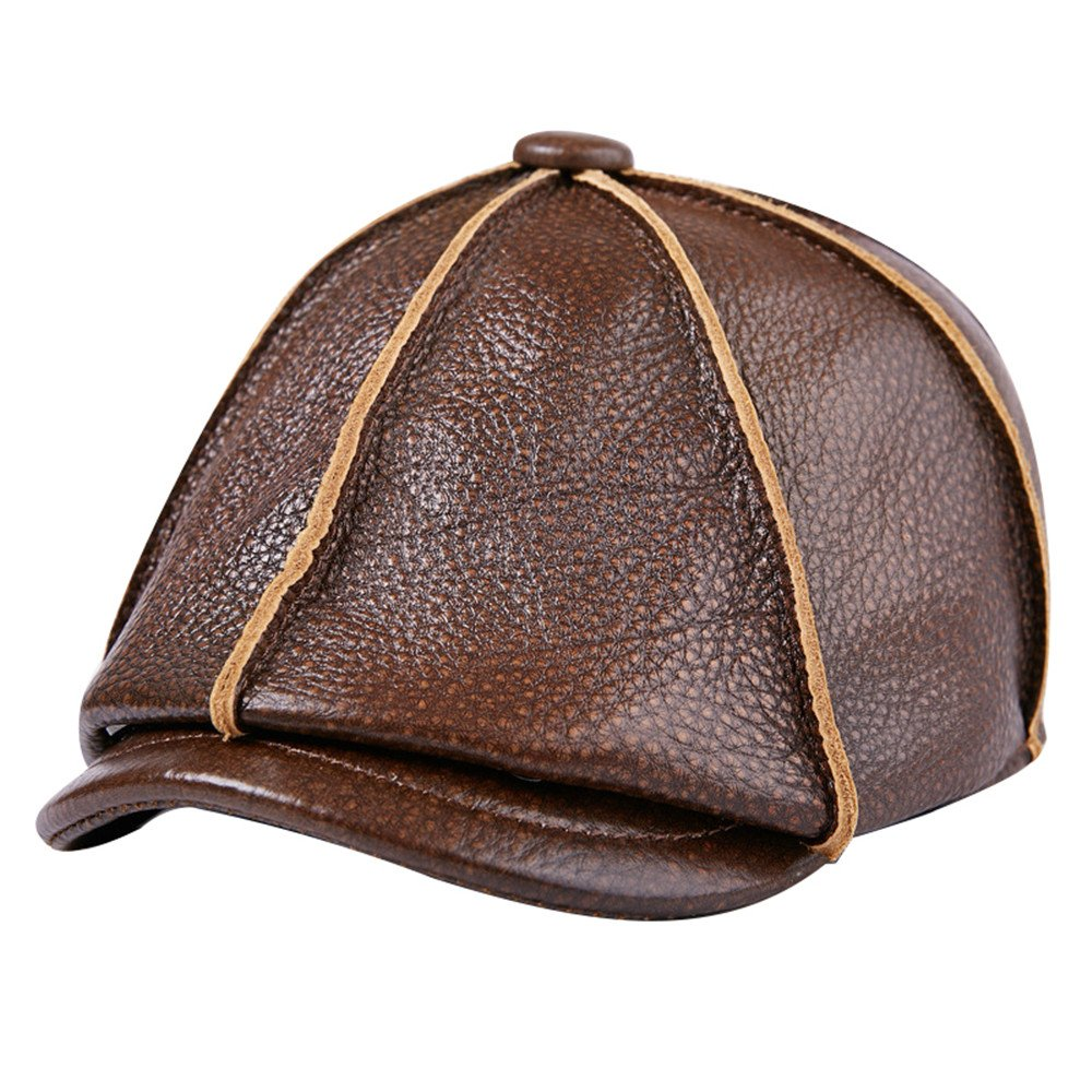 Liveinu Mens Genuine Leather newsboy Cap IVY Hat Winter Flat Caps