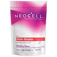 NeoCell Biotin Bursts, Supports Healthy Hair & Nails, Gluten Free & Non-GMO, Acai Berry Flavor - 30 Chews (Package May Vary)