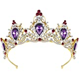 Lurrose Luxury Purple Crystal Crown Baroque Crown Rhinestone Tiara and Crown Bridal Crown Headband