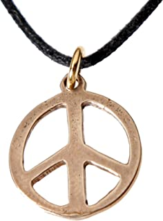 product image for Delicate Peace Symbol Peace Bronze Pendant Necklace on Adjustable Natural Fiber Cord
