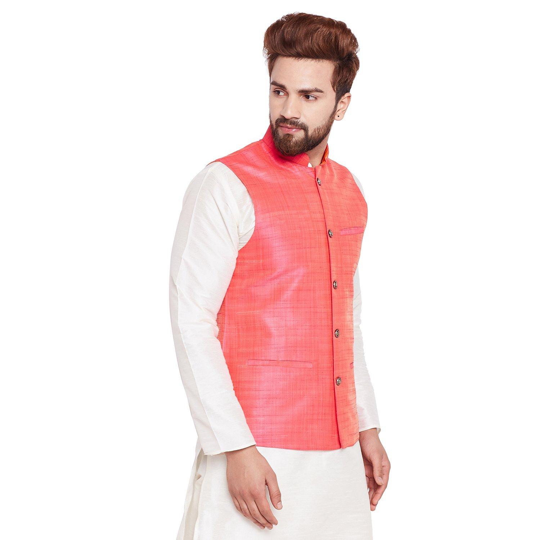 Sojanya Men's Dupion Silk Nehru Jacket Large Pink by Sojanya (Image #3)