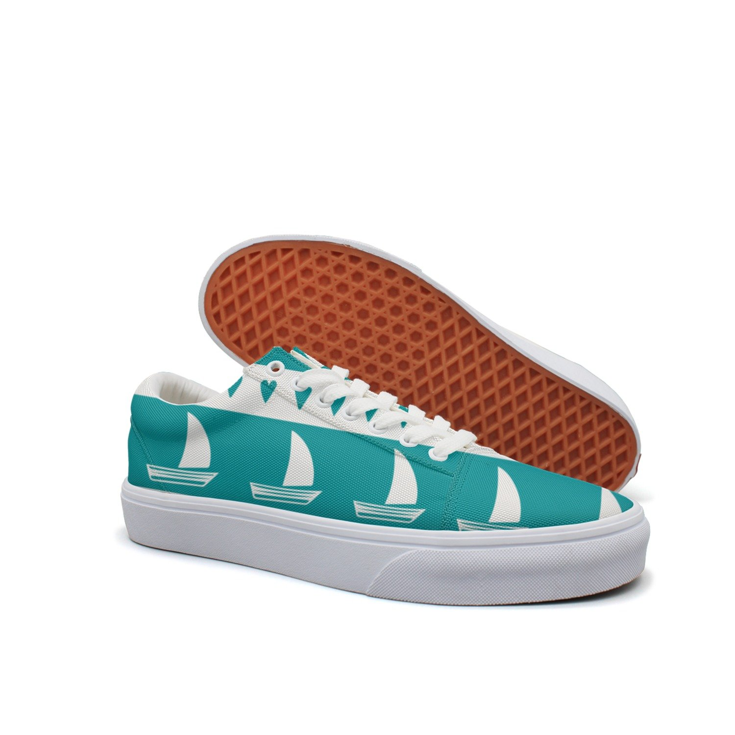 VCERTHDF Print Trendy Anchor Sailboat Hear Low Top Canvas Sneakers