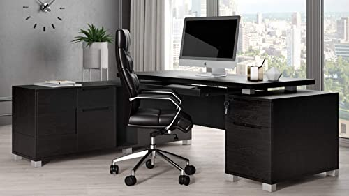 Ford Black Oak Veneer Executive Modern L-Shaped Desk