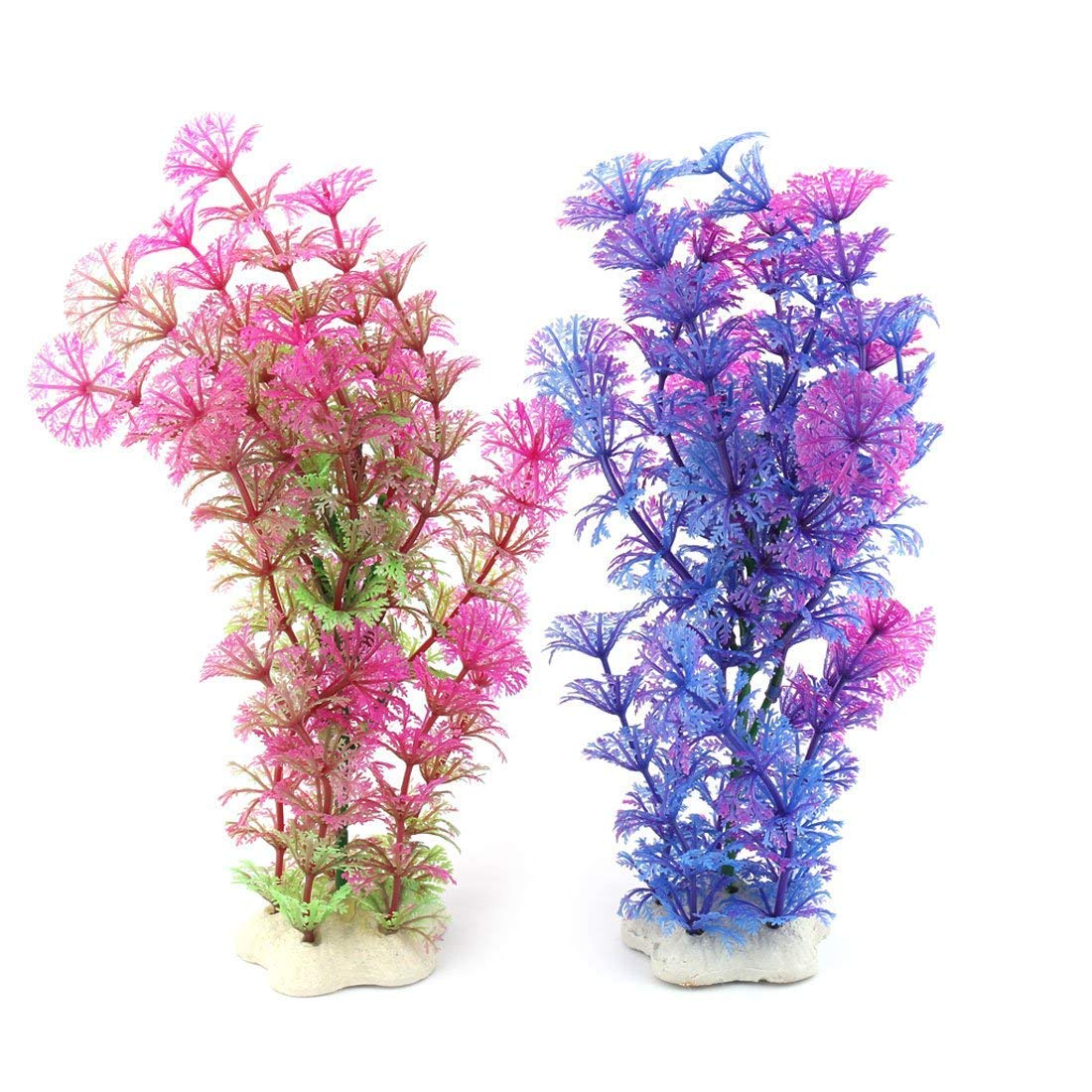 1Pc Ceramic Base Plastic Aquarium Silmulation Grass Aquatic Plant Waterweeds Decoration