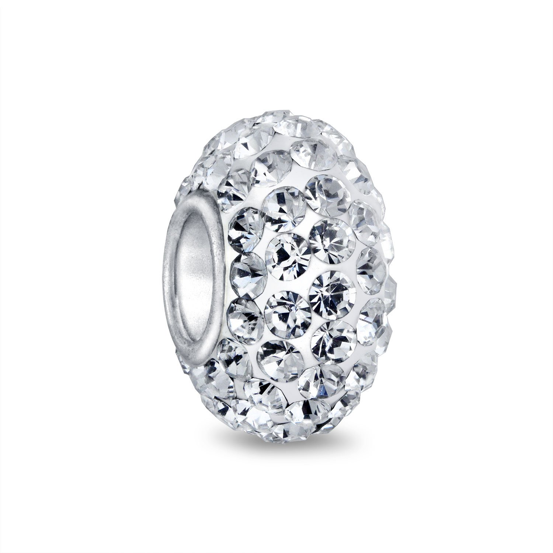 Bling Jewelry 925 Sterling Silver Shamballa Inspired White Crystal Bead Charm PBX-HZ-04-white-BJ