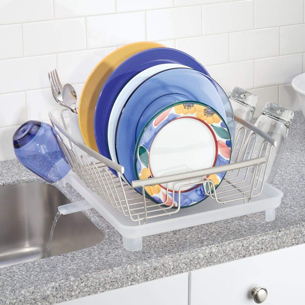 Bandeja escurreplatos para la encimera o el fregadero de la cocina Secaplatos con desag/üe giratorio de metal y pl/ástico mDesign Escurridor de platos con bandeja de goteo plateado mate