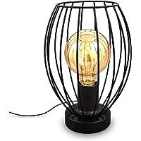 B.K.Licht I Tafellamp I zwart I industrieel I draad I retro lamp I metaal I design I voor binnen I netstroom I aan/uit…