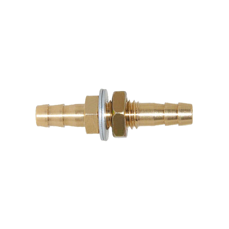 Joywayus 3/16'' ID Hose Barb Thru-Bulk Head Fuel Hex Union Fitting Intersection/Split Brass Water/Fuel/Air