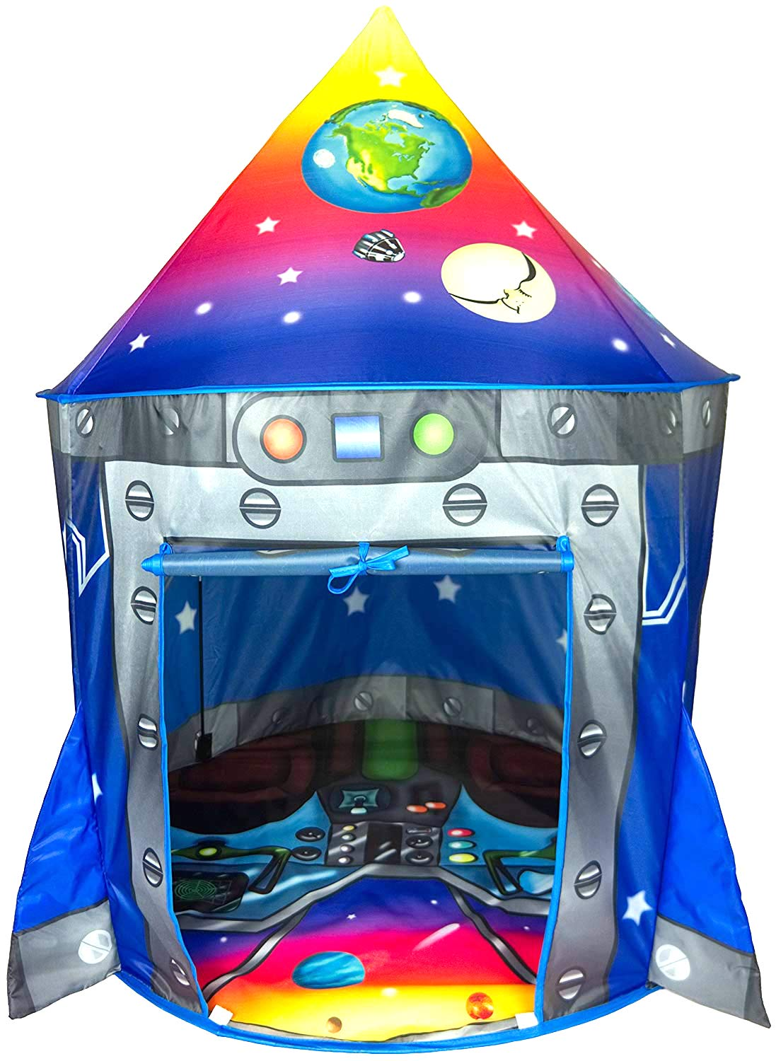 Rocket Ship Play Tent Playhouse | Unique Space and Planet Design for Indoor and Outdoor Fun, Imaginative Games & Gift | Foldable Playhouse Toy + Carry Bag for Boys & Girls | by Imagenius Toys ImpiriLux