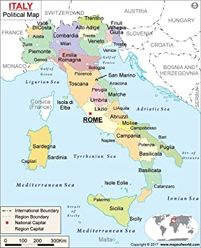 Amazon Com Italy Political Map Laminated 36 W X 44 38 H
