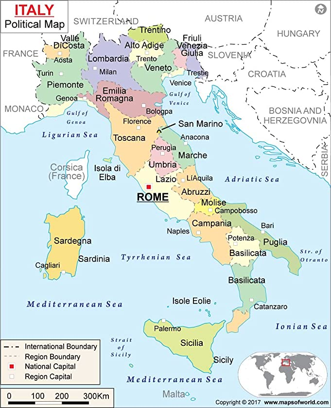 Amazoncom Italy Political Map 36 W x 4438 H Office Products