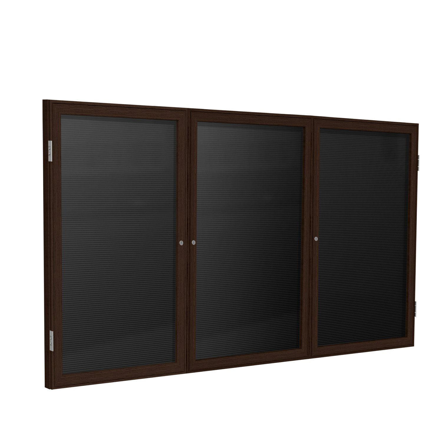 36''x72'' 3-Door Wood Frame Walnut Finish Enclosed Flannel Letter Board, Black by Ghent