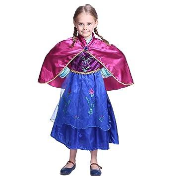 Katara - Disfraz de princesa Anna de Frozen vestido de carnaval con capa rosa para niñas