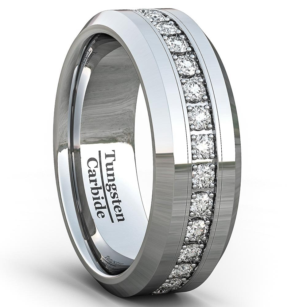 Duke Collections Mens Wedding Band Classic 8mm Tungsten Ring Polished Fully Stacked Cubic Zircon Beveled Edge Comfort Fit (11)