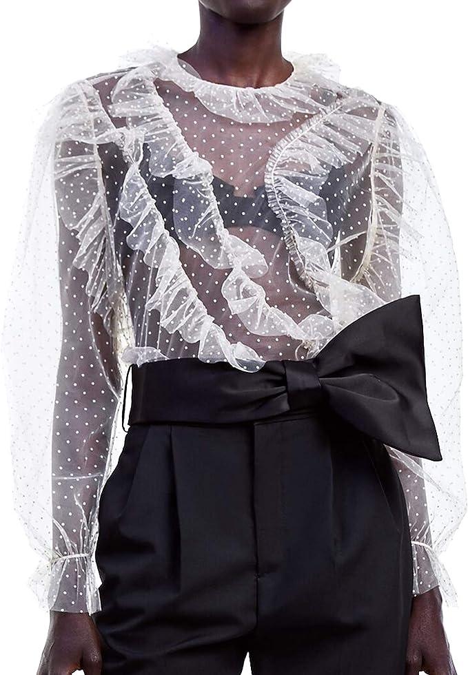 Zara 2488/118/712 - Camiseta de Tul para Mujer - Marfil ...