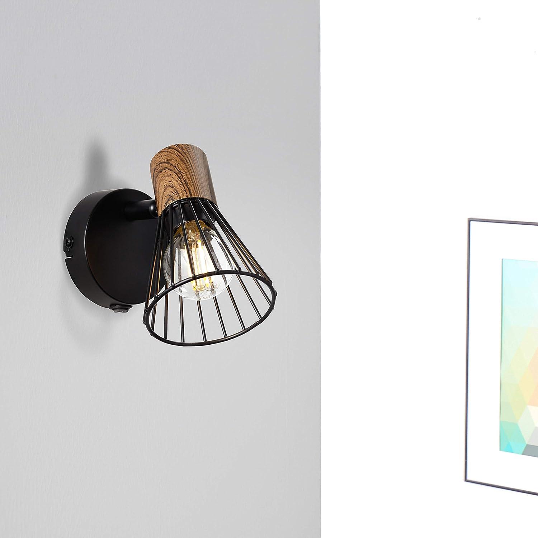1/X E14/max 18/W Metallo//Legno Spot da parete con interruttore in legno scuro//nero opaco