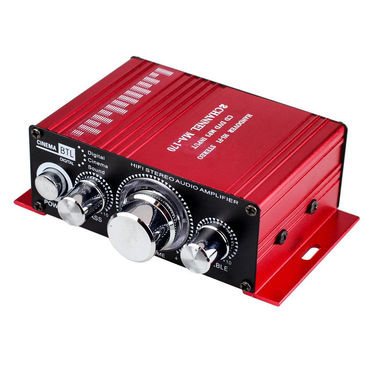 Car Audio Amplifier 20W + 20W Dual Channel Digital Mini HiFi Stereo Power Amplifier Handover AMP 12V for CD DVD MP3 PC Home Car