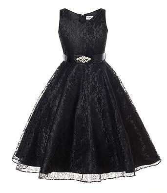 Amazon olivia koo lovely lace v neck flower girl dress clothing dressforless lovely lace v neck flower girl dress black 4 mightylinksfo