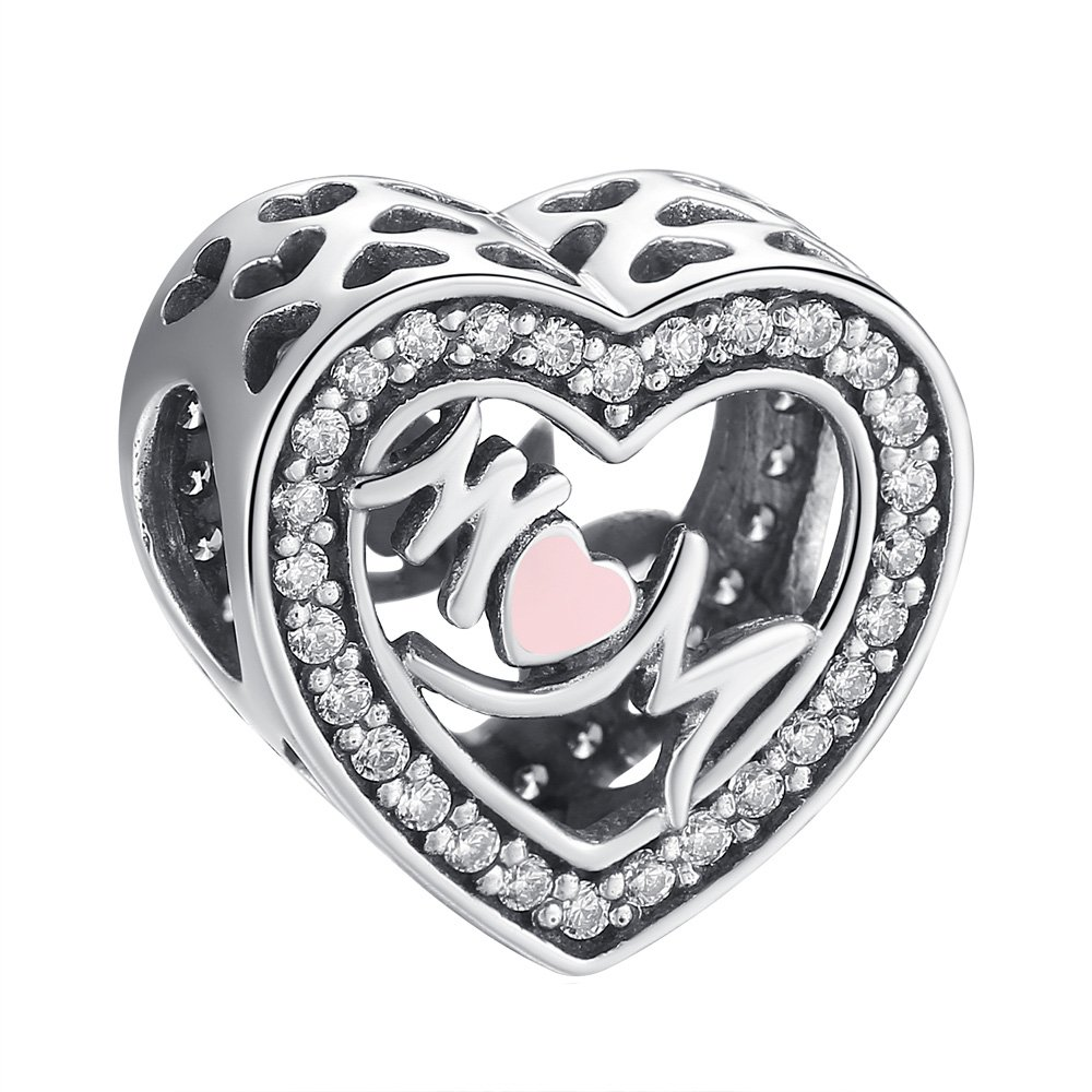 ANGELFLY Mother Heart Charm 925 Sterling Silver Love Mom Heart Charm Beads fit pandora charms for pandora bracelets, Mother's Day Birthday Gifts for Mother Aunt Nana