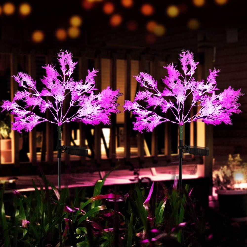 Neporal Garden-Solar-Lights-Outdoor-Decorative, 2 Pack Solar Flowers Lights Garden Lights Solar Powered IP65 Waterproof Solar Stake Lights Garden Decoration for Patio Yard Garden Pathway( Pink)