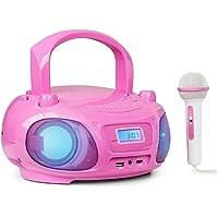 auna Roadie Sing Radio CD Chaîne Stéréo Boombox Lecteur CD Port USB MP3 Radio FM Bluetooth 3.0 Eclairage LED Fonctionnement sur Piles ou Secteur Fonction Sing-A-Long Rose