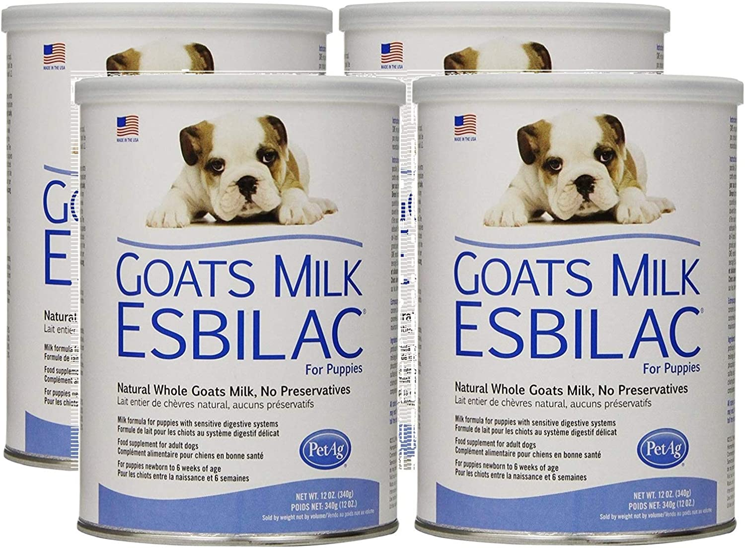 Pet Ag 4 Pack of Goat s Milk Esbilac Powder for Puppies, 12 Ounces Per Canister