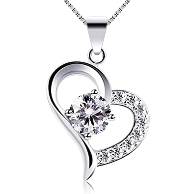 "d7e2abd00 B.Catcher Heart Necklace 925 Sterling Silver Valentines Gift Cubic Zirconia  Pendant Necklaces,18"": Amazon.ca: Jewelry"