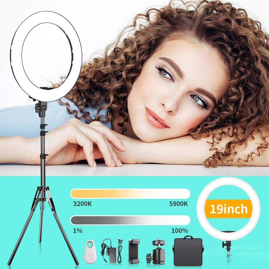 Ring Light, FOSITAN 19 inch Out/14 inch Inner Ring Light with Stand for Camera and phone 3200K-5900K 60W 512 LED Bi-Color Brightness Dimmable Halo Light Circle Light for Make-up YouTube Video Shooting by FOSITAN