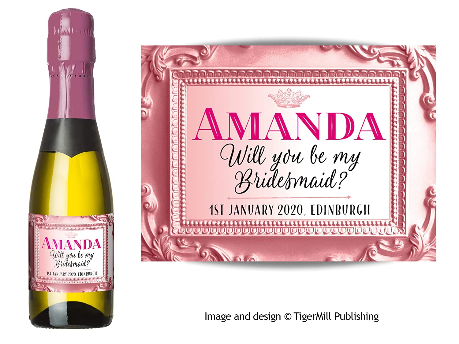 Personalised pink rose champagne bottle label birthday any occasion