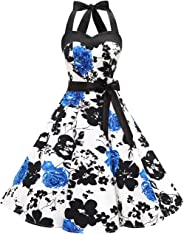 Dresstells® Women's 50s Vintage Halter Polka Dots Rockabilly Audrey 50s Retro Bridesmaid Cocktail Party Prom Dress with Belt