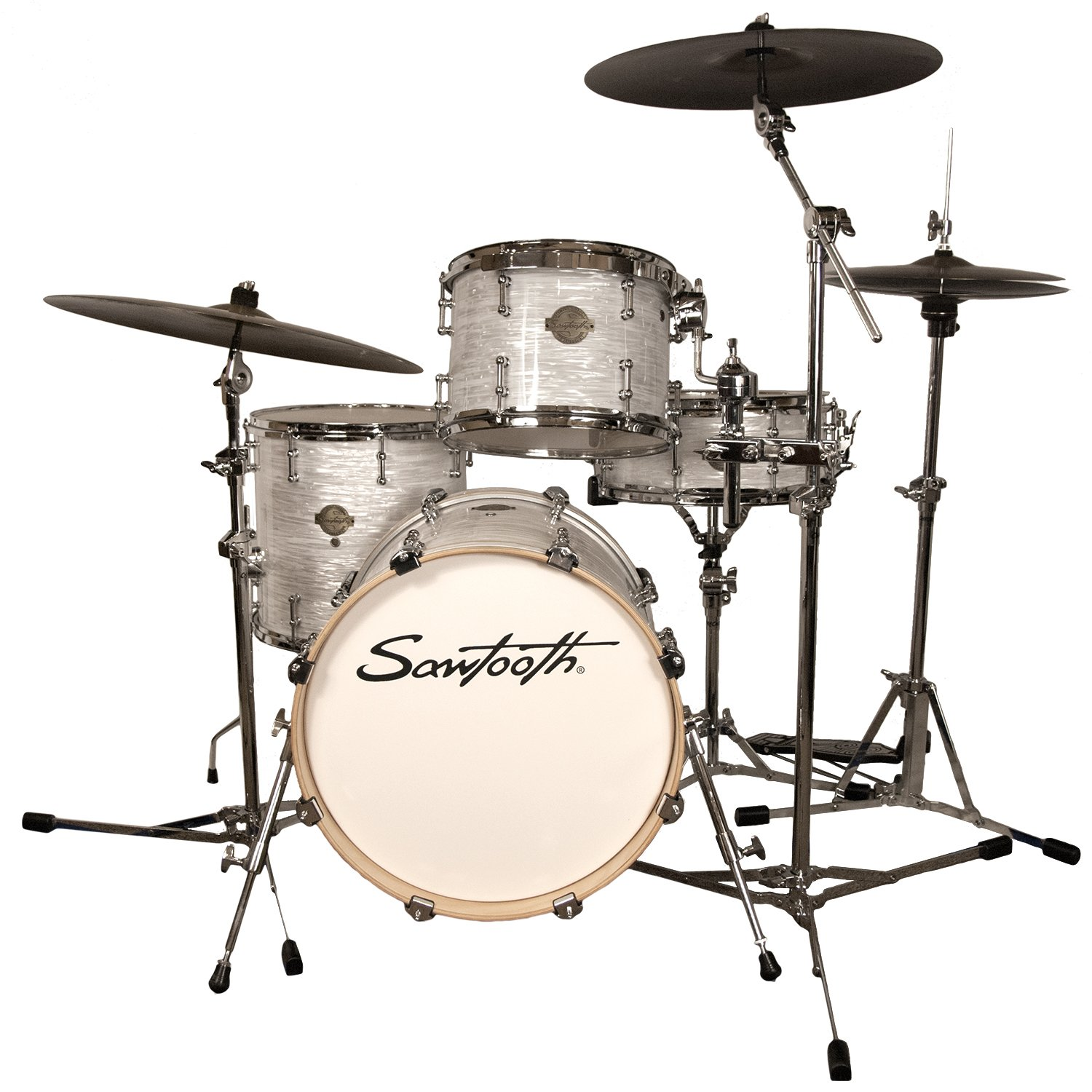 Sawtooth Command Series 4-Piece Drum Set Shell Pack with 18'' Bass Drum, White Oyster
