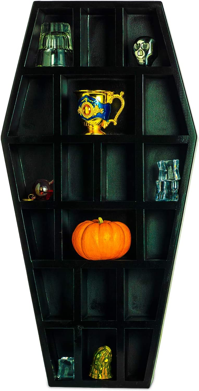 Gute Curio Coffin Shelf Spooky Gothic Decor for Bathroom, Living Room or Bedroom- Black, 14 Inches Tall by 7 Inches Wide 4 Inches Deep