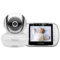 """Motorola MBP 36SC - Moniteur pour bébé avec écran LCD couleur 3,5 """", mode éco et vision nocturne, blanc"""
