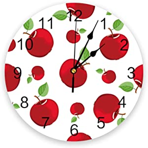 Wall Clock 12 Inch Red Apple Fruit Leaves Wall Clock Cute Cartoon Home Children's Room Decoration Wall Watch Gifts Quartz Silent Non Ticking Easy to Read Wall Clock