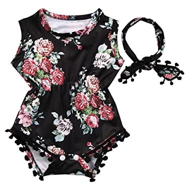78b645dff Cute Adorable Floral Romper Baby Girls Sleeveless Tassel Romper One-pieces  +Headband Sunsuit Outfit